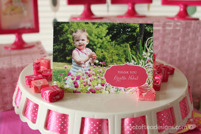 Pinwheel first birthday party: @TinyPrints thank you card #birthdayparty | spotofteadesigns.com
