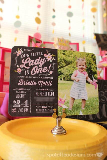 Pinwheel first birthday party: @TinyPrints invitation #birthdayparty | spotofteadesigns.com