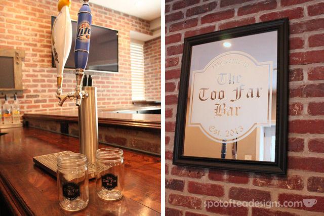 Beautiful Basement Bar Reveal: custom frosted mirror and mason jars #mancave | spotofteadesigns.com