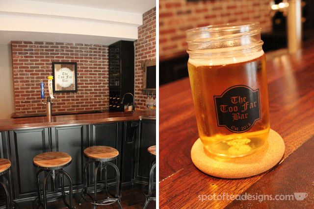 Beautiful Basement Bar Reveal: custom frosted mirror and mason jars with bar's name #mancave| spotofteadesigns.com