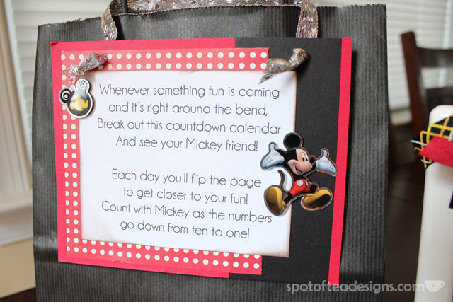 #Disney themed Countdown Calendar: Poem explains gift | spotofteadesigns.com