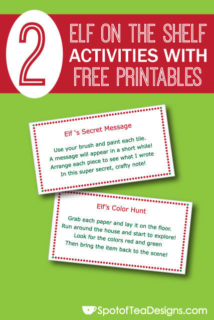 "2 Easy #ElfOnTheShelf Activities with Free #Printables: Send kids on a color hunt and write them a ""secret"" message (crayon resist)