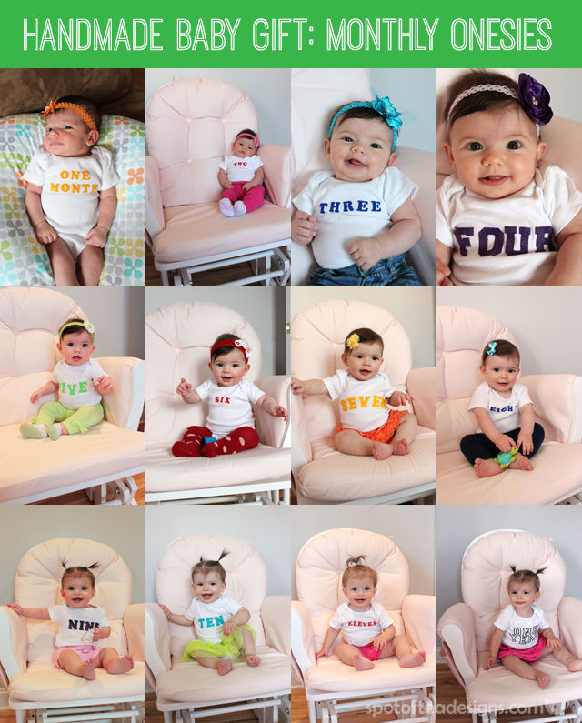 DIY Handmade #Baby #Gift: Monthly Onesies with Iron On Letters #BabyShowerGift   spotofteadesigns.com