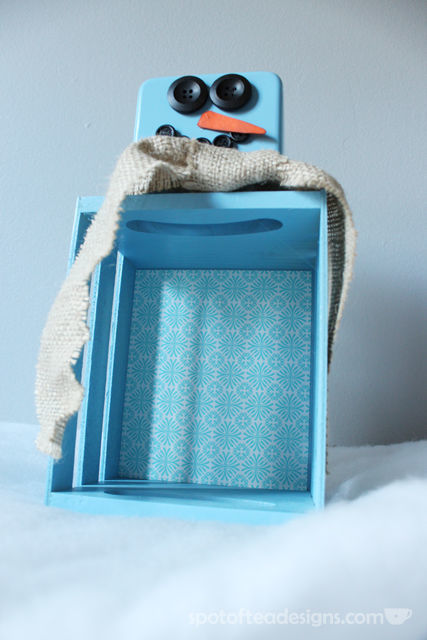 Wood Crate Snowman: a @KrylonBrand Mini Mystery Box creation | spotofteadesigns.com