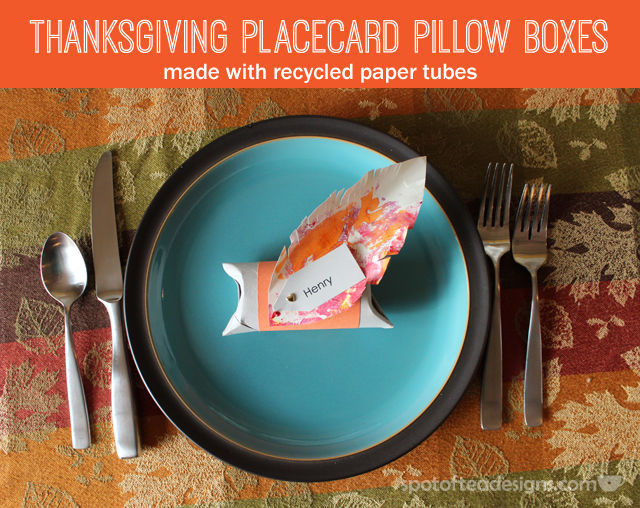 Thanksgiving Placecard Pillow Boxes with Recycled Paper Tubes