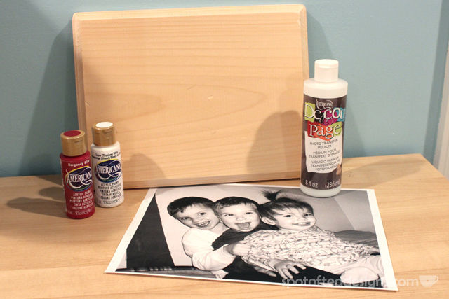 Wood Photo Transfer Gift using @DecoArt DecouPage | spotofteadesigns.com