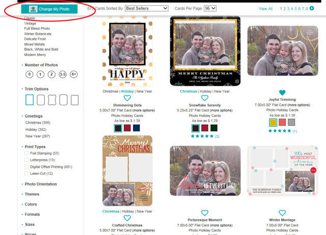 "@TinyPrints now offers as ""Show with my photo"" option so you can preview all the cards with your photo as the placeholder! GENUIS! 