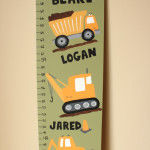 Construction Truck Themed Growth Chart with Deco Art