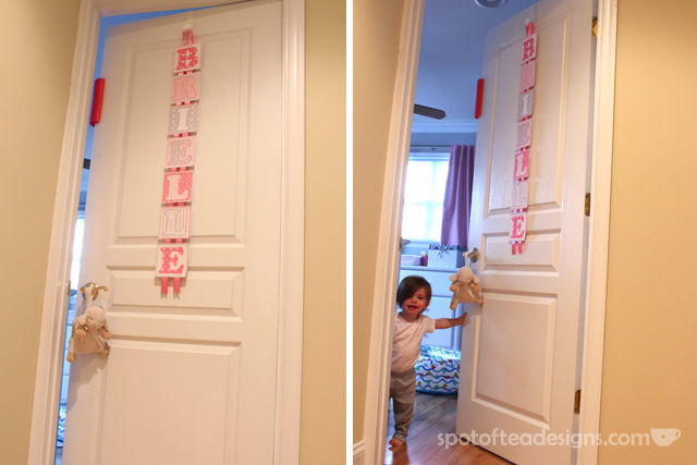 Tips to setting up your nursery to make it safer for baby and more functional for parents. Pool Noodle to block door from locking #baby #nursery #parenting | spotofteadesigns.com
