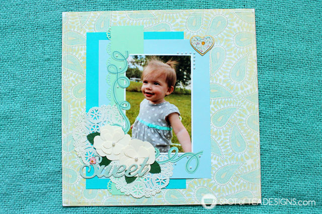 Baby book #Scrapbook Layout: Pretty Paisley design | spotofteadesigns.com