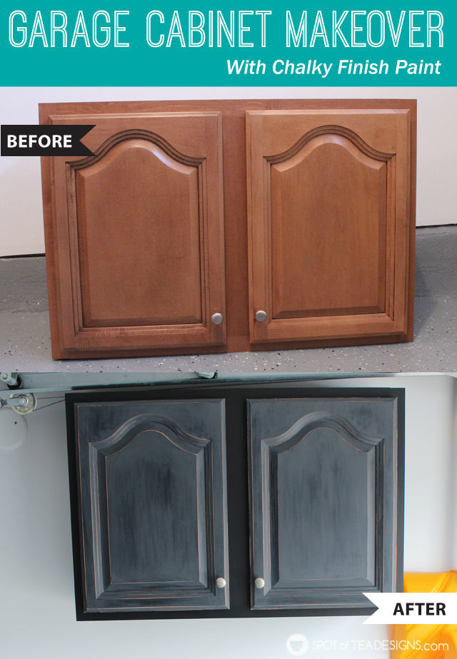 Garage Cabinet Makeover With Decoart Inc Chalky Finish Paint Spotofteadesigns