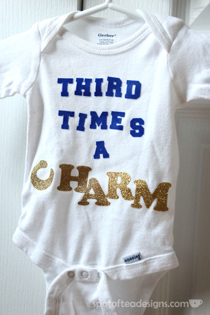Custom Baby Onesie for Third Child Using Iron On letters   spotofteadesigns.com