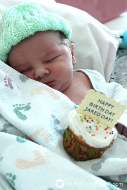 Bring cupcakes to the hospital when a new baby is born and celebrate their birth day!   spotofteadesigns.com