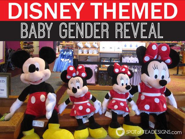 Disney themed baby gender announcement #Disney #baby #genderreveal #pregnancy | spotofteadesigns.com