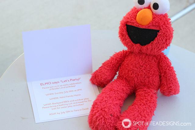 #DIY Elmo #SesameStreet #Party #Invitations using punched shapes | spotofteadesigns.com