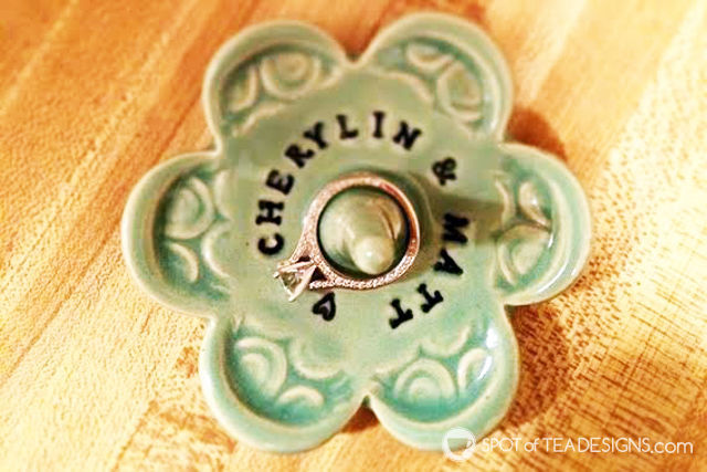 Custom ring holder for bride to be. Great for #bridalshower #engagment party gift! | spotofteadesigns.com