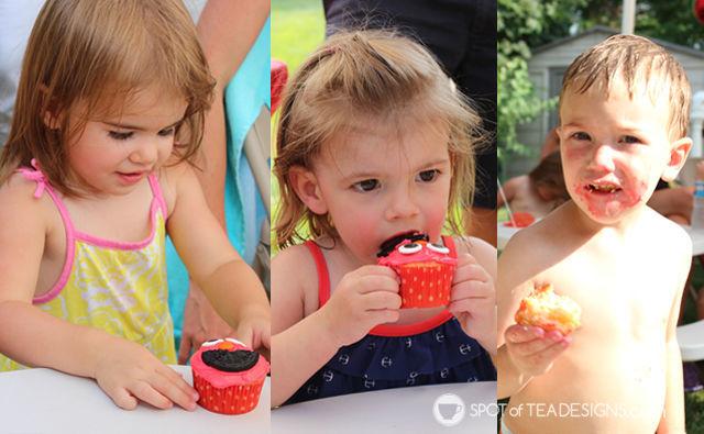 Elmo 2nd #Birthday #Party = Elmo cupcakes | spotofteadesigns.com