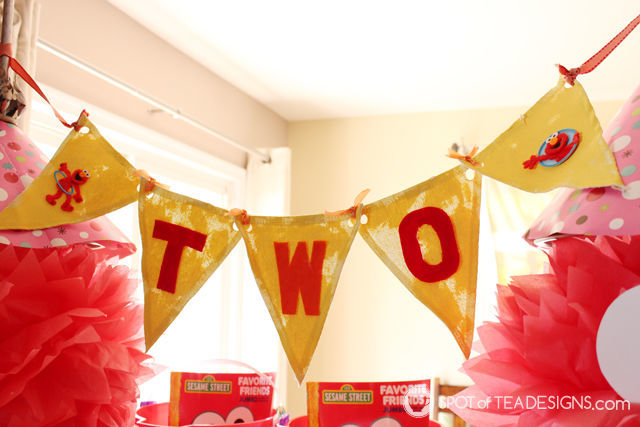 Elmo 2nd #Birthday #Party - handmade party banner | spotofteadesigns.com