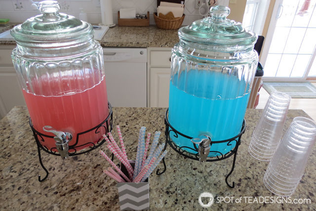Fireworks Gender Reveal: drink station #baby #genderreveal | spotofteadesigns.com