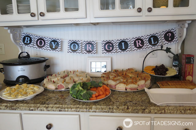 Fireworks Gender Reveal: food station #baby #genderreveal | spotofteadesigns.com
