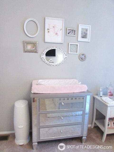 Pink, White & Grey #Baby #Nursery - mix and match picture frames   spotofteadesigns.com