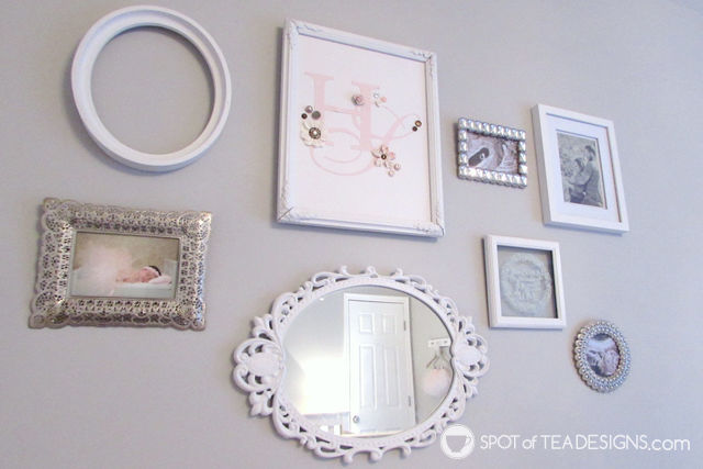 Pink, White & Grey #Baby #Nursery - mix and match picture frames | spotofteadesigns.com