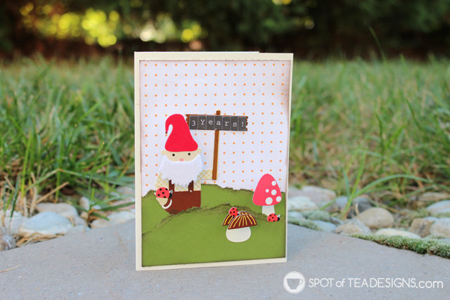 3 year anniversary card featuring a cute gnome | spotofteadesigns.com