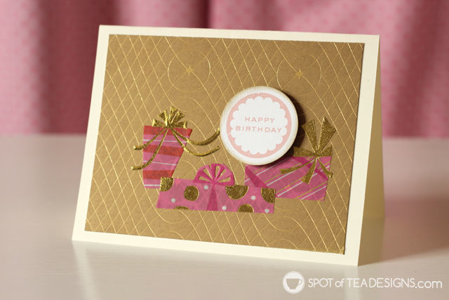 Pink and gold handmade birthday card | spotofteadesigns.com