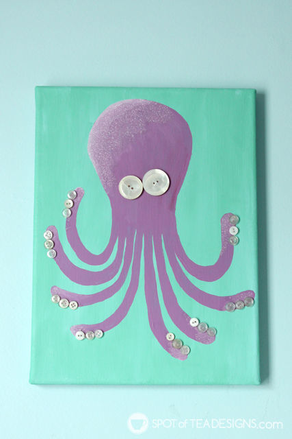Under the Sea #Nursery Octopus Wall Art featuring @DecoArt_Inc Americana Acrylic Paint | spotofteadesigns.com