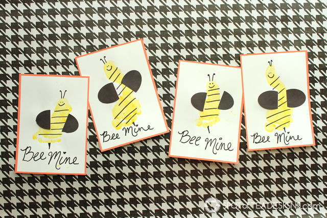 Bee Mine Footprint Valentines #kidscraft | spotofteadesigns.com