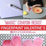 Crayon Resist Fingerpaint Valentine's Cards