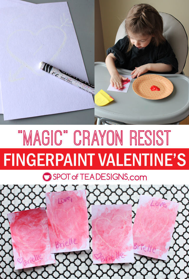 "Let kids perform ""magic"" with this fun and easy crayon resist fingerpainted Valentine's craft using a white crayon. #kidscrafts #valentinesday 