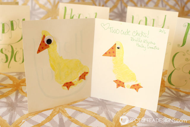 Easter Chick Footprint Card - handmade by toddler and infant. #kidscraft #eastercraft | spotofteadesigns.com