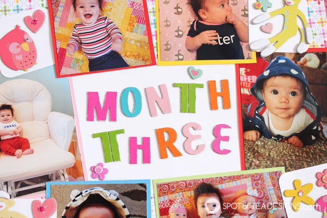 Hailey's First Year #Scrapbook - Month 3 title | spotofteadesigns.com