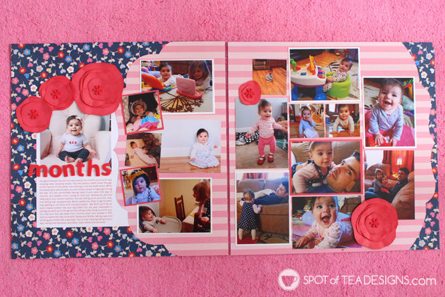 Hailey's First Year #Scrapbook - Month 6 full layout | spotofteadesigns.com