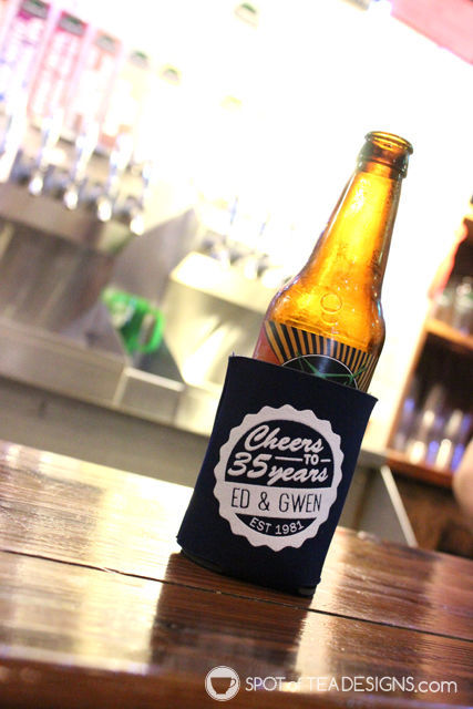 35th wedding anniversary party ideas - beer koozie favor | spotofteadesigns.com
