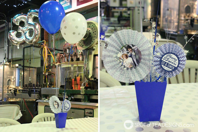 35th wedding anniversary party ideas - DIY centerpieces | spotofteadesigns.com