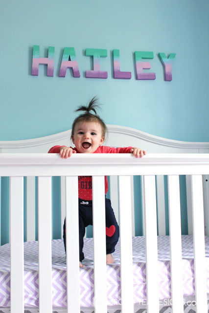 DIY Ombre Letters for Baby #nursery featuring @Decoart paint | spotofteadesigns.com