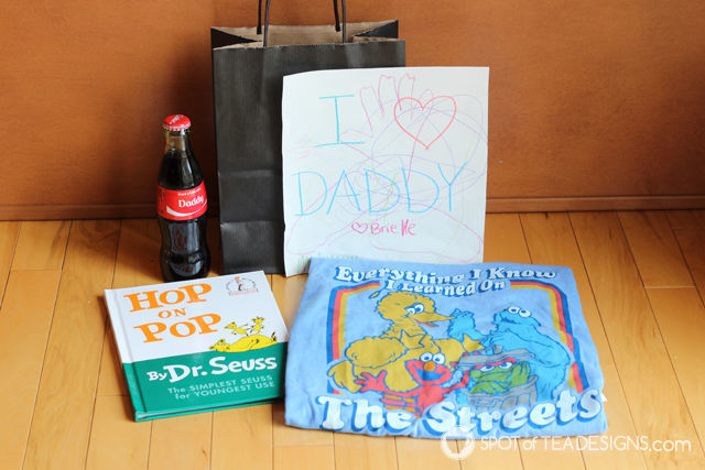 Father's Day Gift Ideas - Dad books, handmade card, daddy personalized coke | spotofteadesigns.com