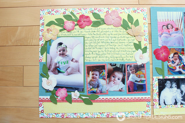 Baby's first year #scrapbook - month 5 | spotofteadesigns.com