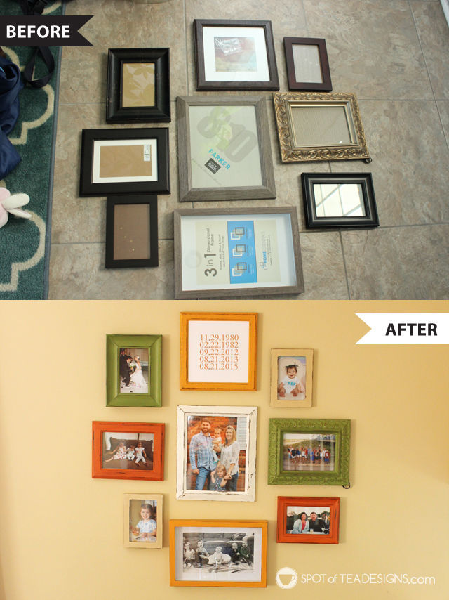 DIY Family Gallery Wall - frames made to match using @DecoArt_Inc Americana Chalk Paint - before and after | Spotofteadesigns.com