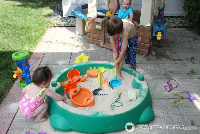 Under the sea #birthdayparty activity - burried treasure in the sandbox   spotofteadesigns.com