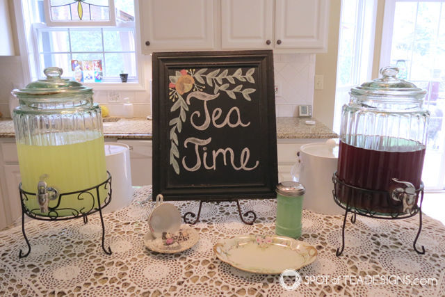 Tea for Two 2nd Birthday Party - drink station | spotofteadesigns.com