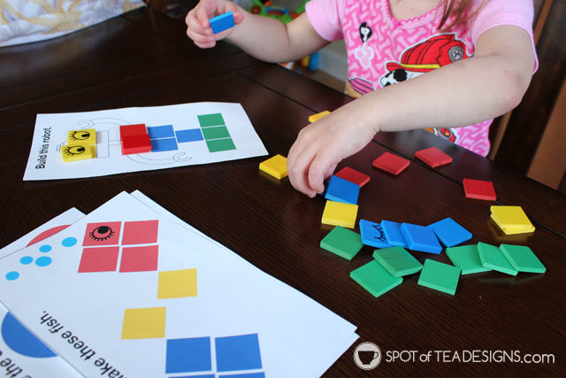 Toddler Busy Bag - colored tiles paired with free printables | spotofteadesigns.com