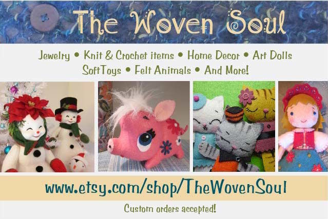 The Woven Soul Etsy Shop - jewelry, knit and crochet items, home decor, art dolls, soft toys, felt animals and more! - featured on spotofteadesigns.com