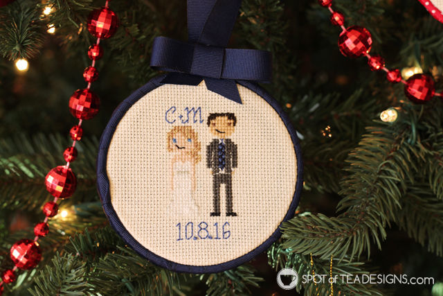 Cross Stitch Portrait Hoop Ornament Tutorial - featuring a wedding couple | spotofteadesigns.com