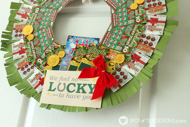 Step by step photo tutorial to make a DIY Lottery Wreath featuring #NJLottery instant win lottery tickets. Featuring free printable #AD | spotofteadesigns.com