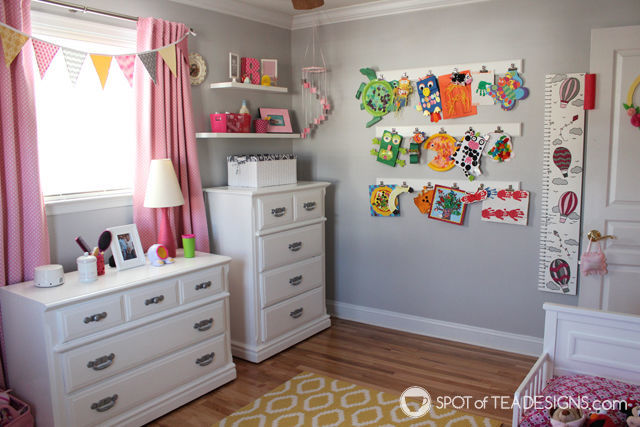 Pink and Yellow Toddler Bedroom Tour - blank wall includes diy art gallery display| spotofteadesigns.com