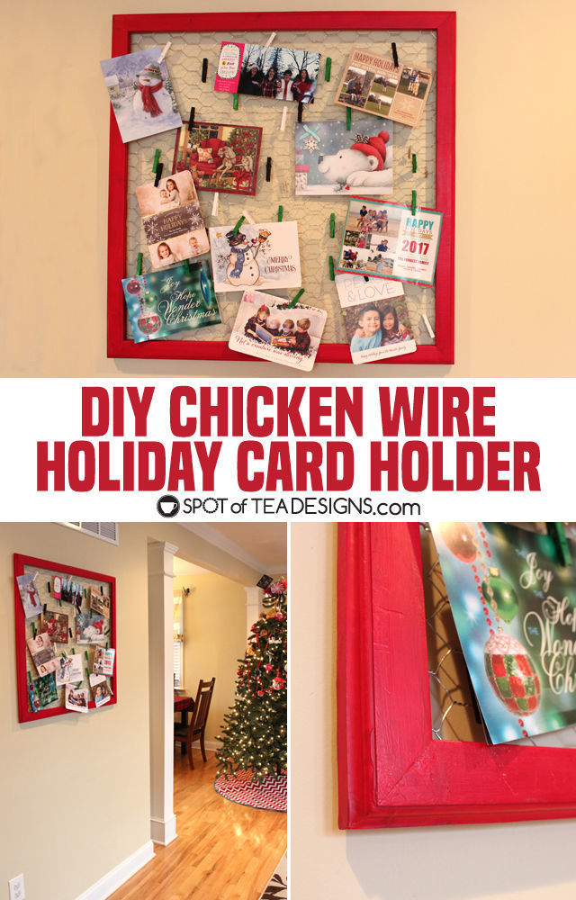 DIY Chicken wire Christmas Card Display featuring @Decoart_inc paint | spotofteadesigns.com