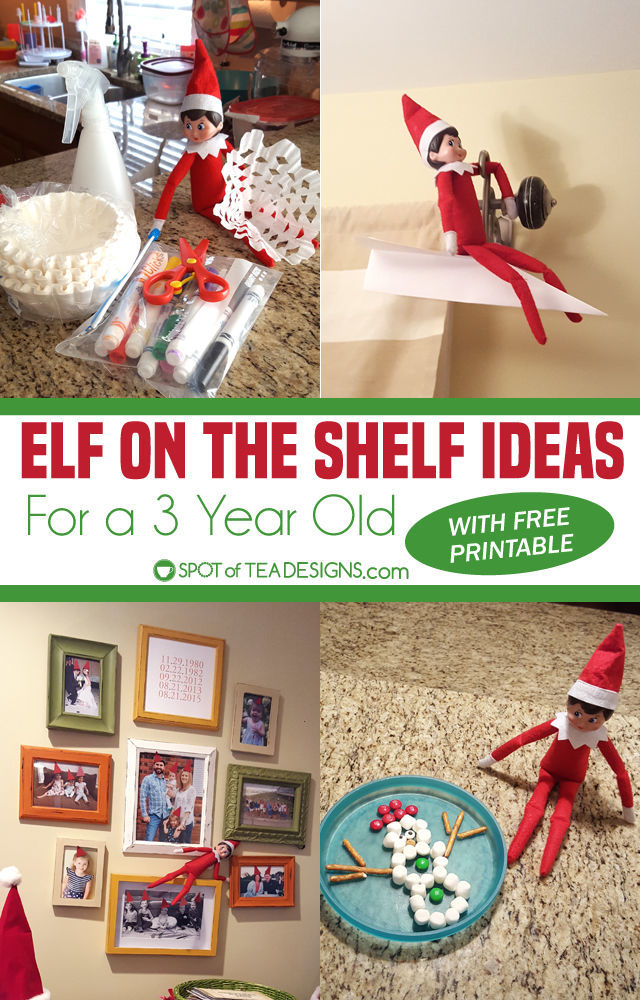 Elf on the Shelf Ideas for a 3 year old - includes printable to check off the ideas each night! | spotofteadesigns.com